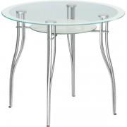"""Круглый стеклянный стол """"Византия 1"""", хром, d=90см"""